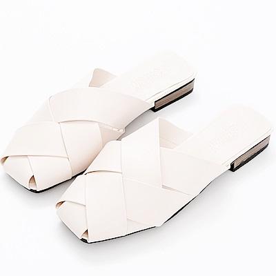 River&Moon拖鞋-皮革交叉編織低跟穆勒鞋-米