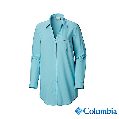 Columbia 哥倫比亞 女款-UPF40防曬長袖襯衫-藍色 UFL00660BL