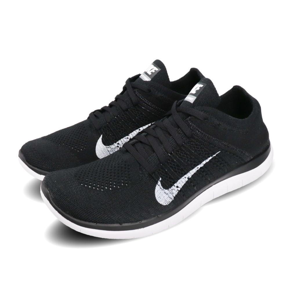 Nike 慢跑鞋 Free Flyknit 輕量 透氣 赤足 針織鞋面 黑 白 男鞋