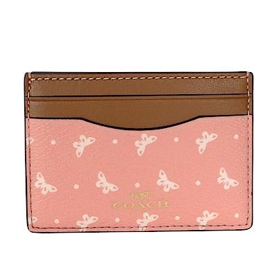 COACH粉紅蝴蝶圖騰拼接駝邊真皮雙面名片/票卡夾