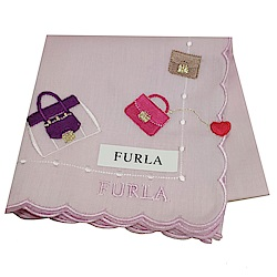 FURLA 經典刺繡品牌包包圖騰字母LOGO荷葉邊帕領巾(粉紅色系)