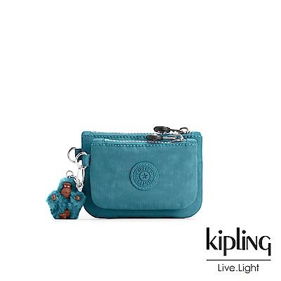 Kipling 靜謐藍綠色素面雙拉鍊袋零錢包-SYRINE