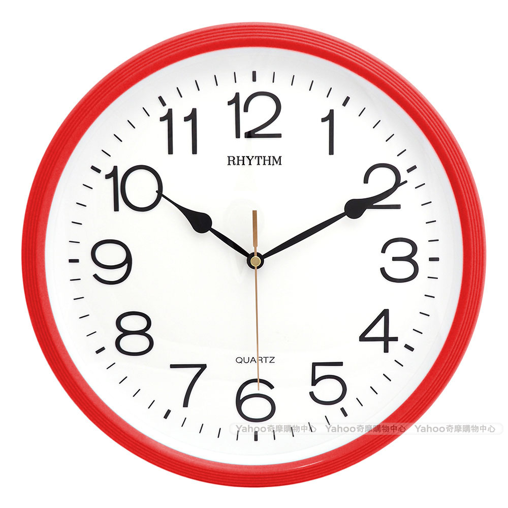 RHYTHM麗聲 現代極簡超靜音掛鐘(玫瑰紅)/31cm