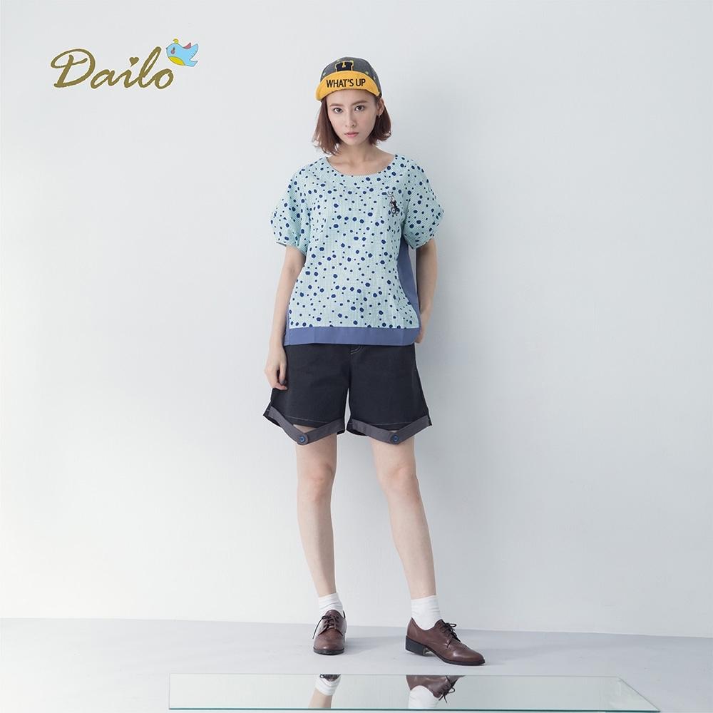 【Dailo】MIT製 釦帶設計款-短褲(二色/版型寬鬆)
