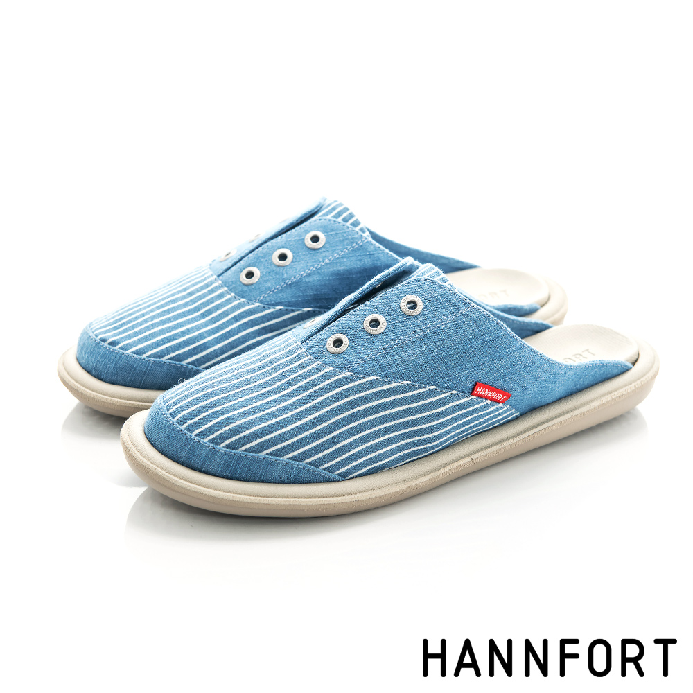 HANNFORT COZY牛仔條紋穆勒拖-女-天空藍