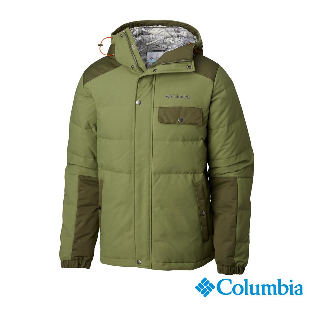 Columbia哥倫比亞 男款- 防潑連帽羽絨外套-苔綠 UWE12710LC