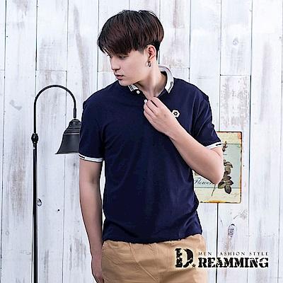 Dreamming 素面六角標章透氣棉質短POLO衫-共三色