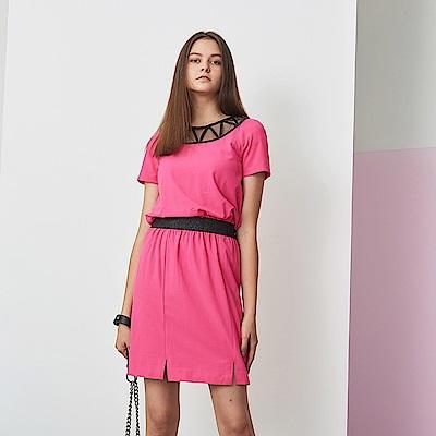 Chaber巧帛 鏤空釘珠鬆緊收腰桃紅洋裝