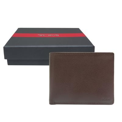 TUMI拆卸式卡夾雙折牛皮短夾-深棕色附原廠禮盒