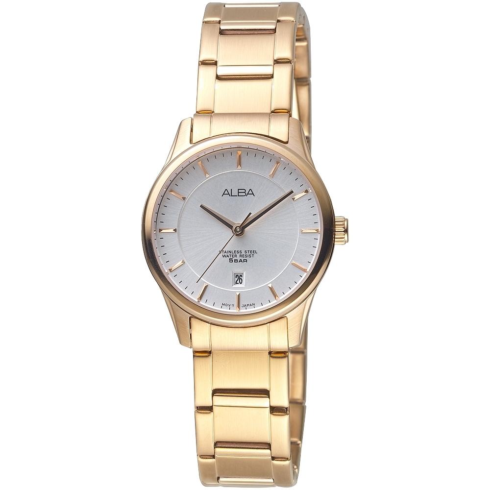 ALBA雅柏手錶 金色簡約都會風情女錶(AH7L66X1)/28mm 保固二年