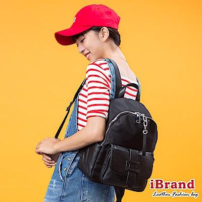 iBrand後背包 簡約真皮皮飾口袋後背包-黑