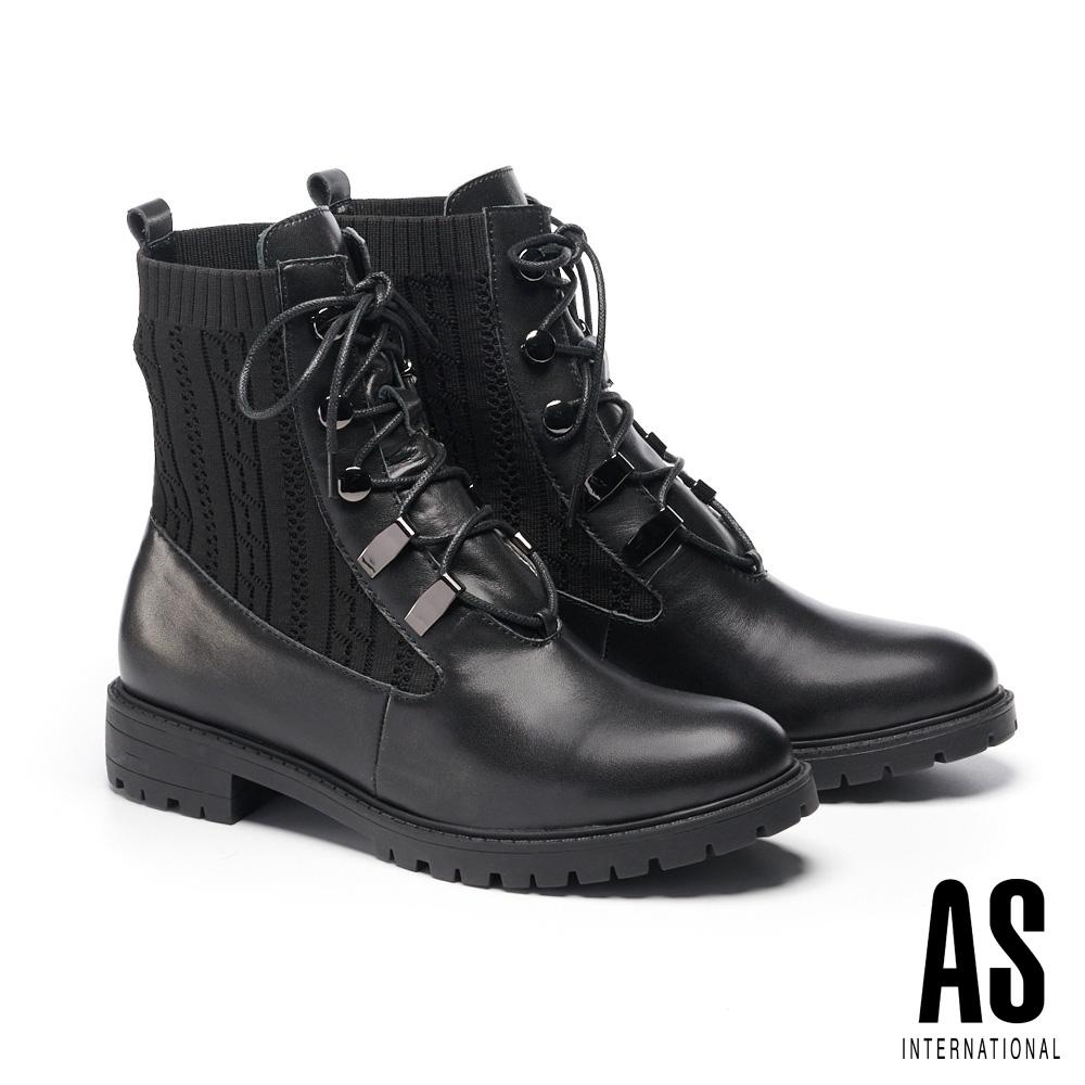 短靴 AS 帥氣個性綁帶異材質拼接短靴-黑
