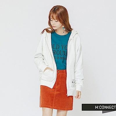 H:CONNECT 韓國品牌 女裝-後印字連帽抽繩外套-白