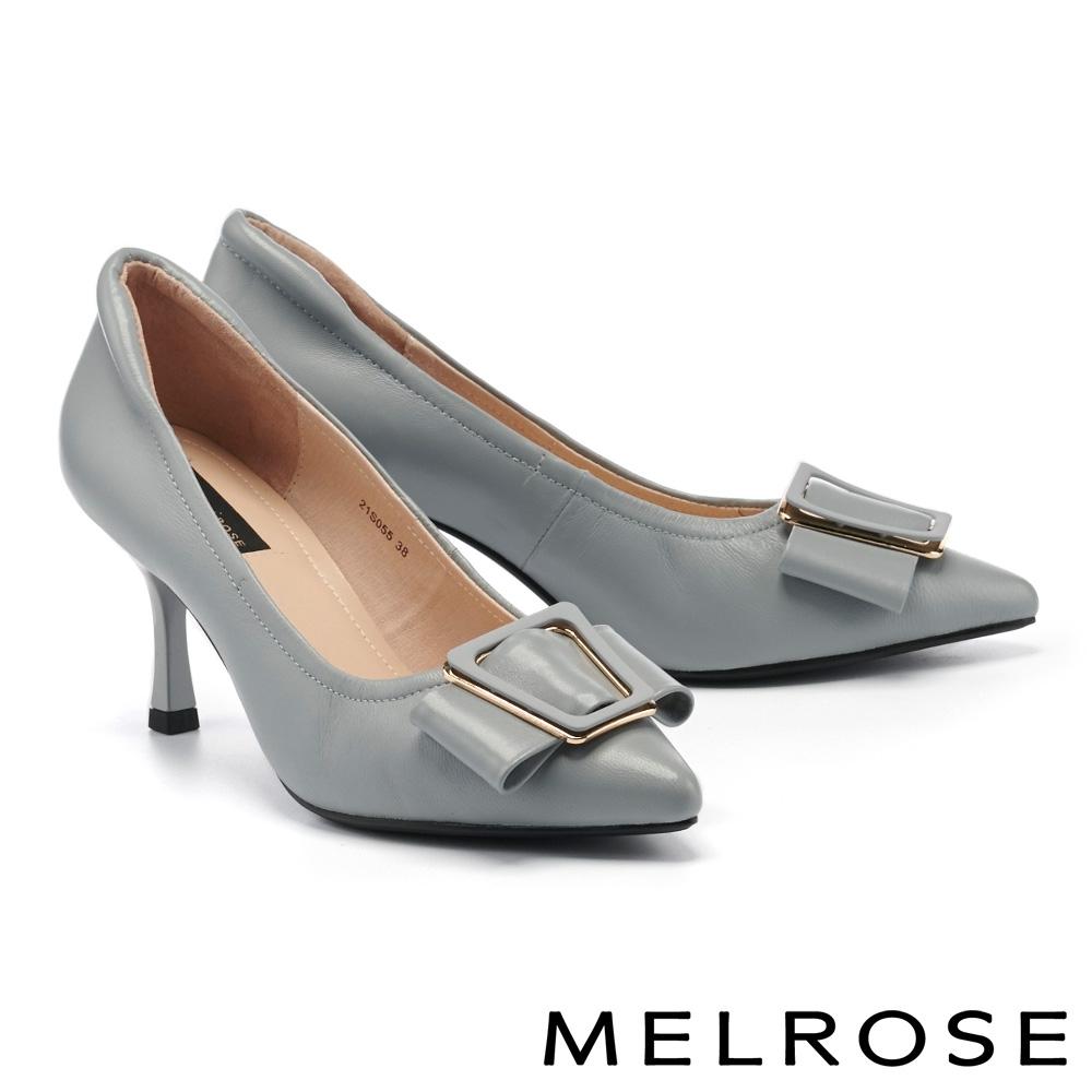 高跟鞋 MELROSE 質感時尚繫帶飾釦全真皮尖頭高跟鞋-灰