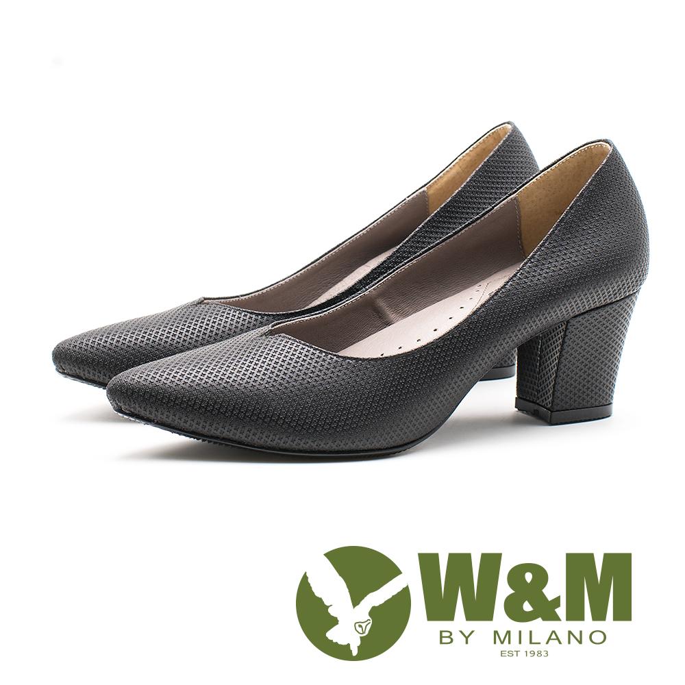 W&M V型菱形紋粗跟鞋 女鞋-黑