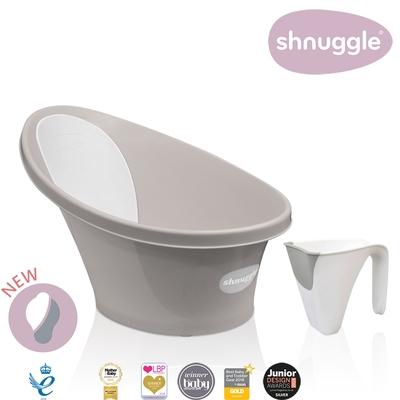 【英國Shnuggle】月亮澡盆-奶茶杏(嬰兒浴盆)+小小水瓢