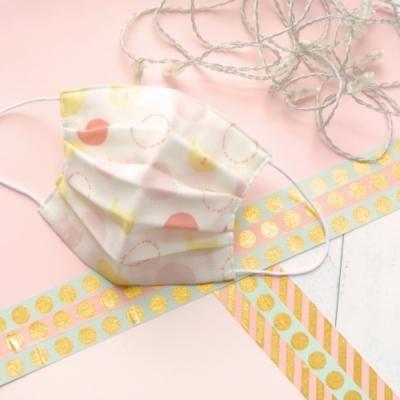 TEMARIYA 日本製 可水洗手作立體口罩M(水玉貓咪)-粉