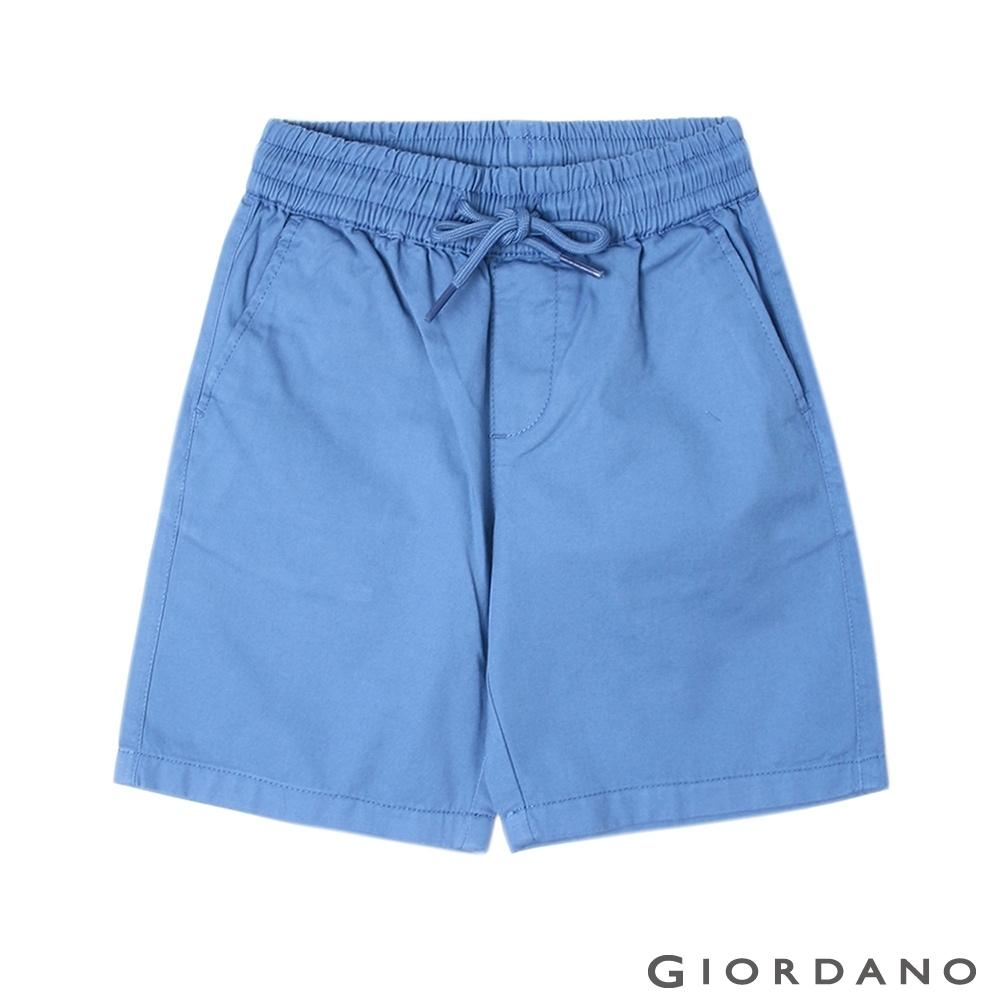 GIORDANO 童裝素色鬆緊腰卡其短褲-60 精陶藍