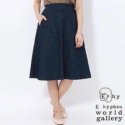 E hyphen 腰際鬆緊雙口袋設計牛仔傘裙