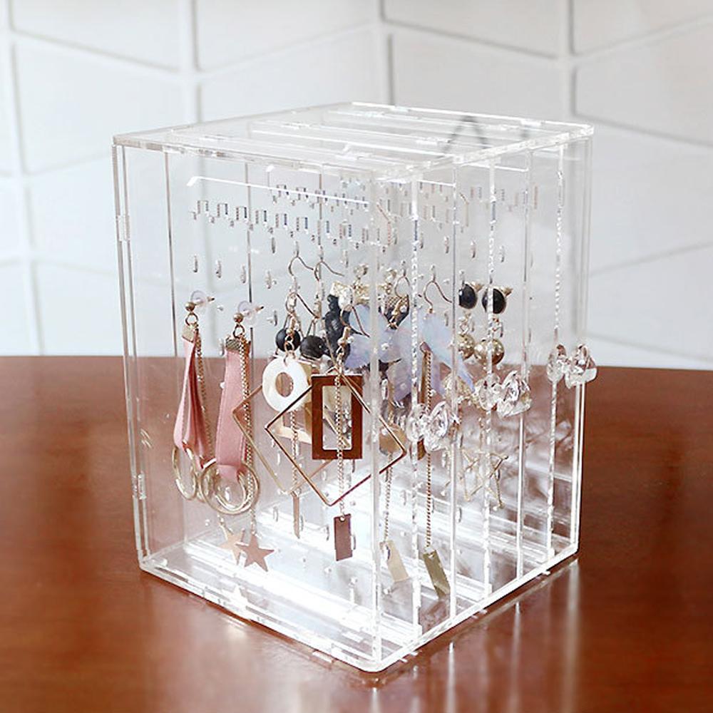梨花HaNA 實用女孩耳環收納神器透明亞克力抽式飾品盒
