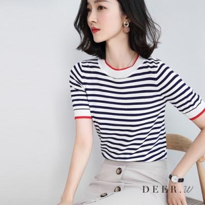 DEER.W 圓領配色條紋針織上衣(藍/白)