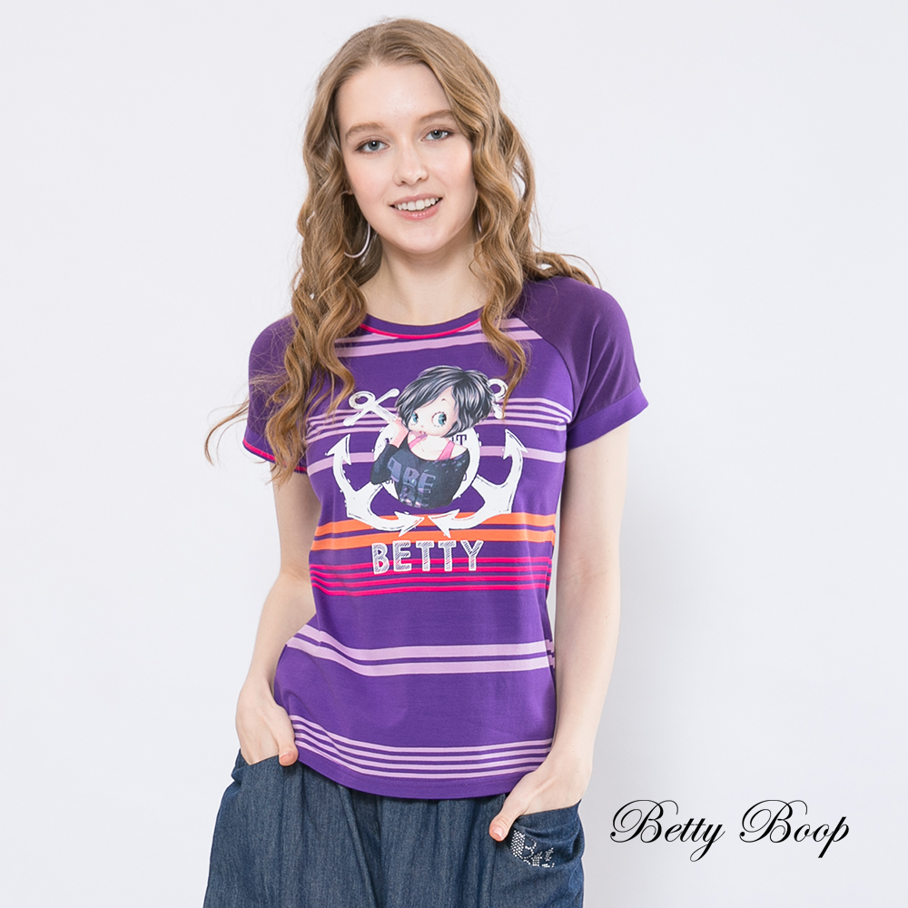 Betty Boop貝蒂 拼接袖條紋柔棉上衣(共兩色)