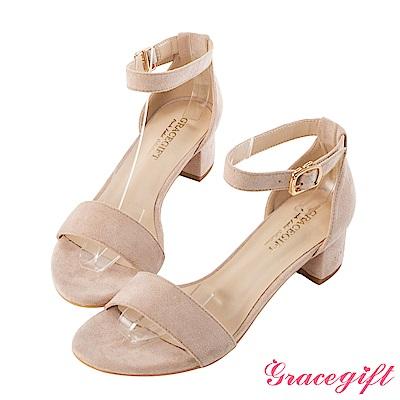 Grace gift-絨布一字中跟涼鞋 粉紅