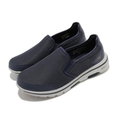 Skechers 休閒鞋 Go Walk 5 Delco 健走 男鞋 戶外 郊遊 踏青 懶人鞋 穩定 緩震 灰 藍 216013NVGY