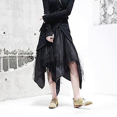 暗黑先鋒不規則下襬紗裙小黑蓬蓬裙設計所在039