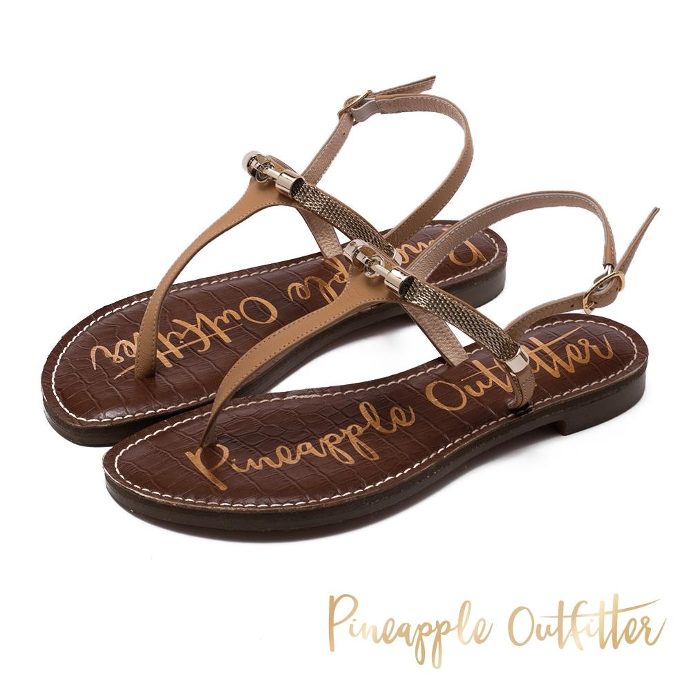 Pineapple Outfitter 真皮復古感金屬環T字帶平底涼鞋-米杏