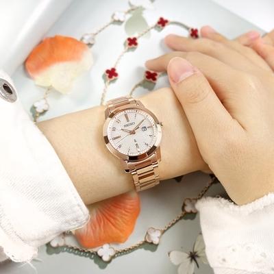 SEIKO 精工 LUKIA 太陽能 日期 不鏽鋼手錶-銀白x鍍玫瑰金/31mm