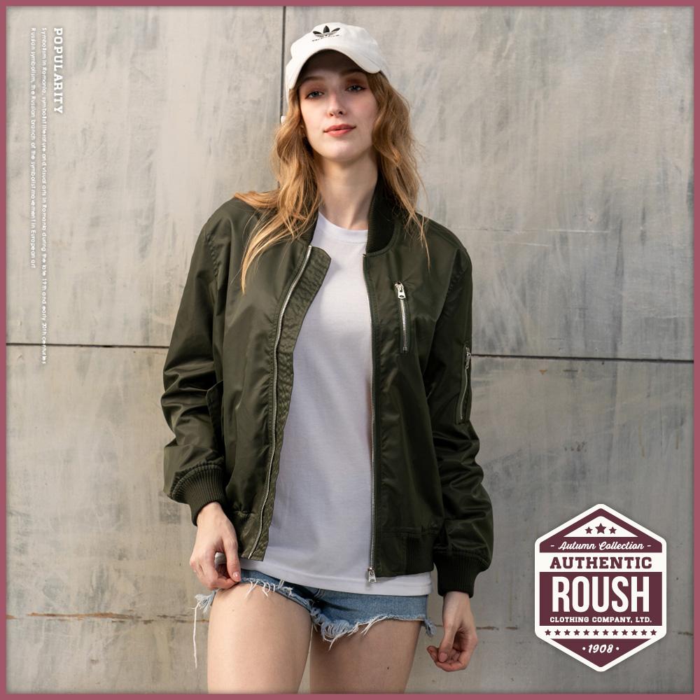 Roush 女生over size左胸拉鍊設計MA-1防風外套(2色)