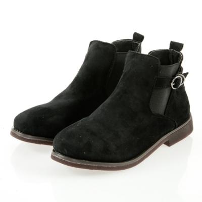 JMS-簡約率性風側扣環鬆緊拼接踝靴-黑色