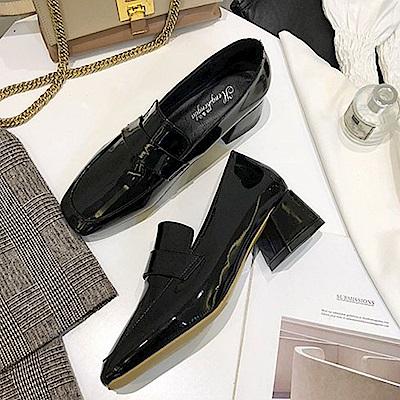 KEITH-WILL時尚鞋館 搶鮮購進口彩金編織粗跟鞋-黑色