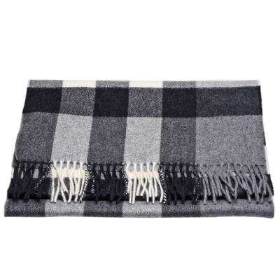 BURBERRY 經典格紋喀什米爾羊毛流蘇圍巾(灰)