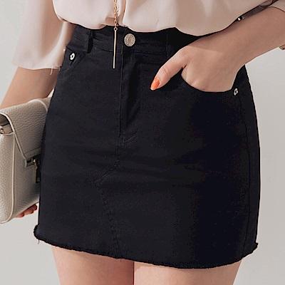 AIR SPACE 不收邊軟料顯瘦褲裙(黑)