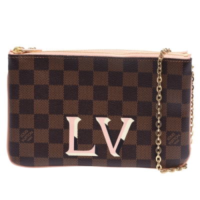 LV N60254 經典LOGO標誌Damier印花牛皮飾邊雙層拉鍊斜背包(粉紅)