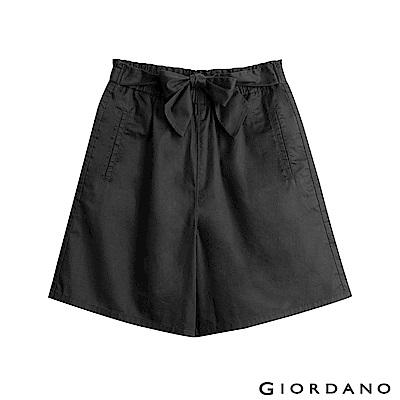 GIORDANO 女裝鬆緊腰蝴蝶結綁帶寬短褲-09 標誌黑