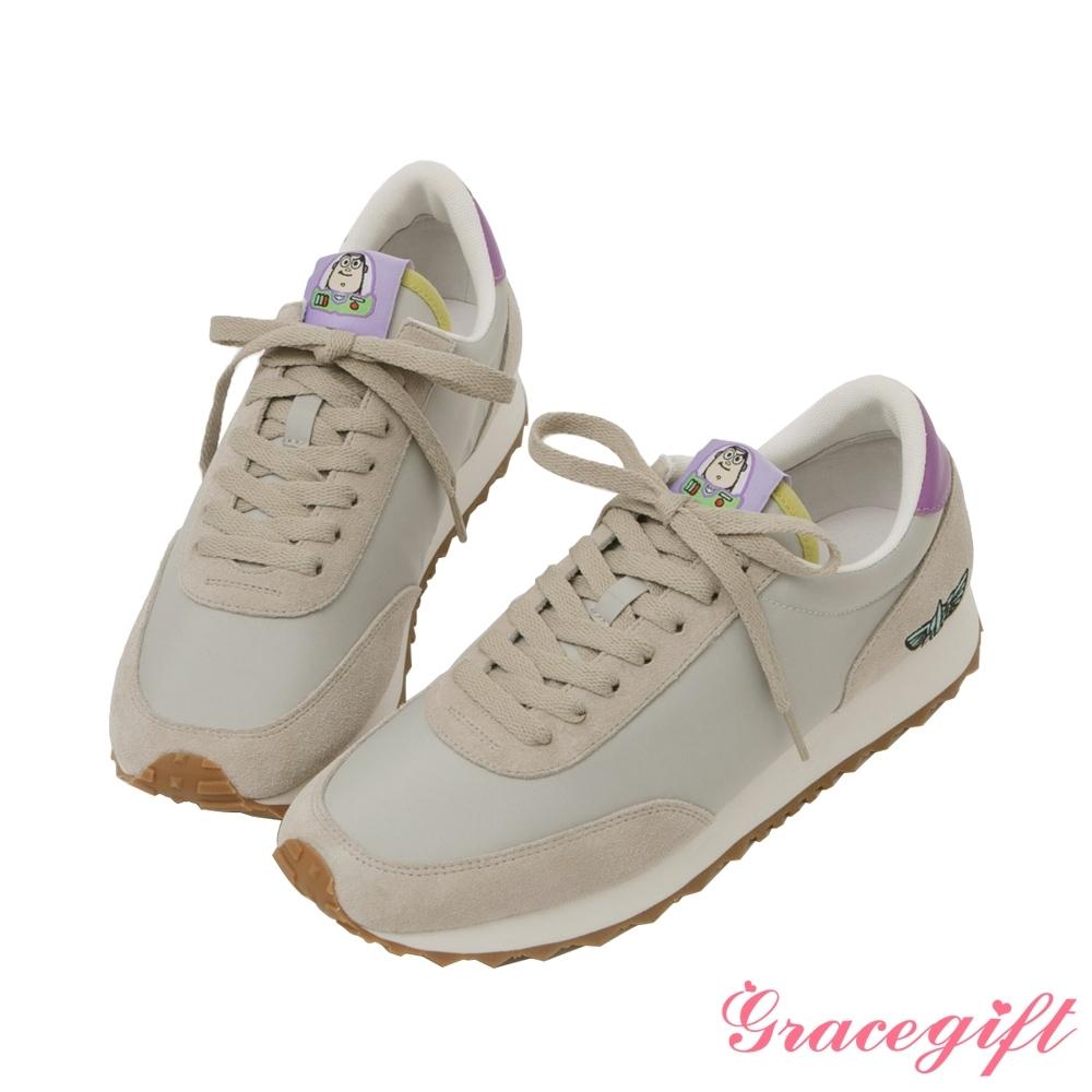 Disney collection by grace gift-玩總巴斯光年復古休閒鞋 淺灰