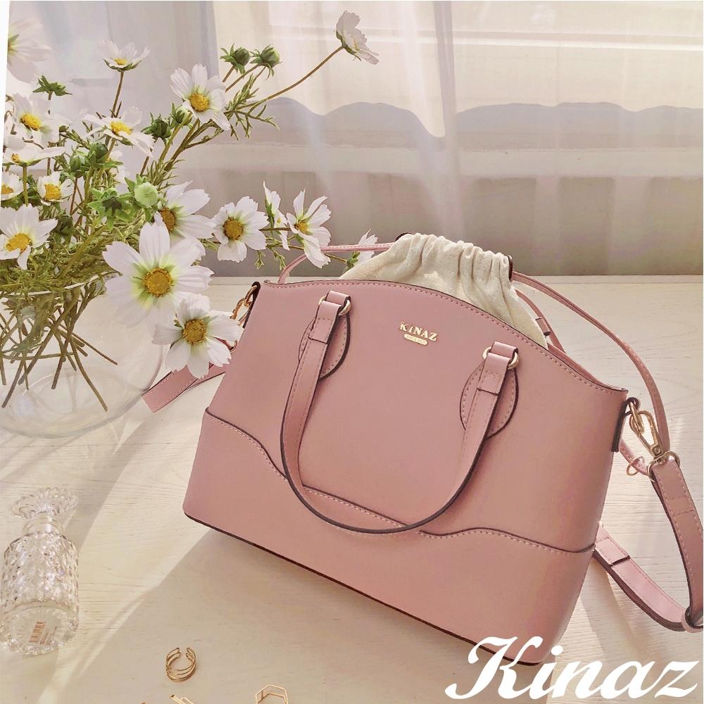 KINAZ 附束口袋曲線開口手提斜背公事包-夢幻香氣-粉紅葡萄酒系列