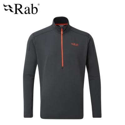 【英國 RAB】Flux Pull On 長袖拉鍊保暖排汗衣 男款 鯨魚灰 #QFF08