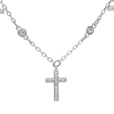 SWAROVSKI 施華洛世奇 MINI CROSS璀璨水晶十字架造型銀色項鍊
