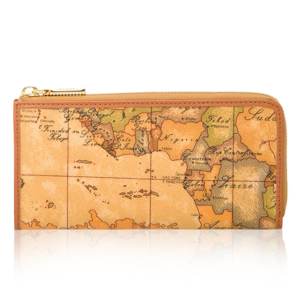 Alviero Martini 義大利地圖包 拉鍊8卡零錢長夾-地圖黃