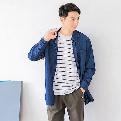 高含棉袖反褶仿牛仔襯衫-OB大尺碼