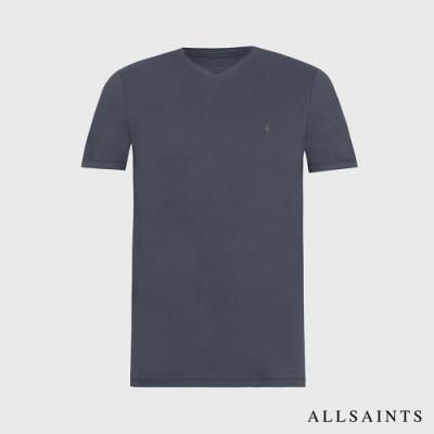 ALLSAINTS BRACE TONIC 公羊頭骨刺繡純棉短袖V領T恤-水洗藍