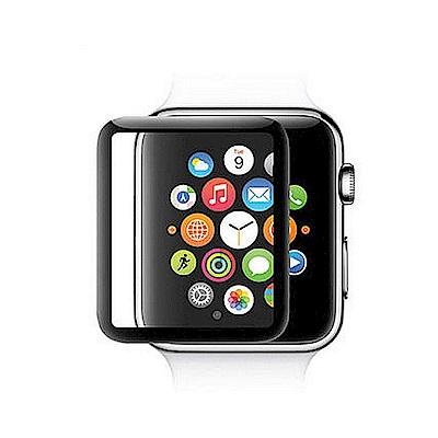 蘋果手錶 Apple Watch 3D曲面鋼化玻璃保護膜保護貼-黑色42mm