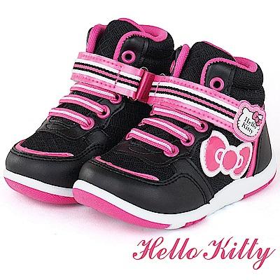 (雙11)HelloKitty 輕量透氣防臭高筒休閒童鞋-黑