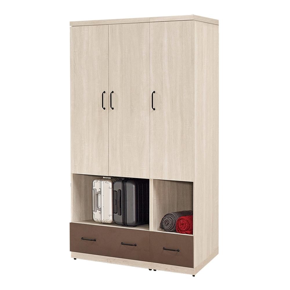 Boden-比恩4尺多功能開放式衣櫃組合(三門+二抽)-120x60x197cm