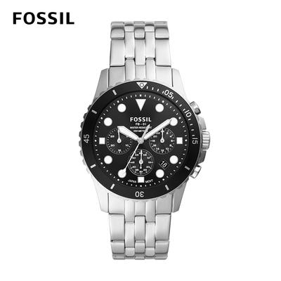FOSSIL FB-01 chrono 雙色三眼計時手錶 銀色不鏽鋼鍊帶 42MM FS5837