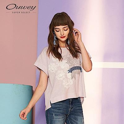 OUWEY歐薇 正韓直送 花卉蕾絲絨布標語燙印上衣(紫/灰)